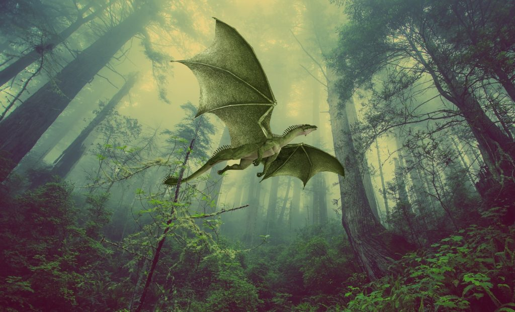 dragon flying in the forest