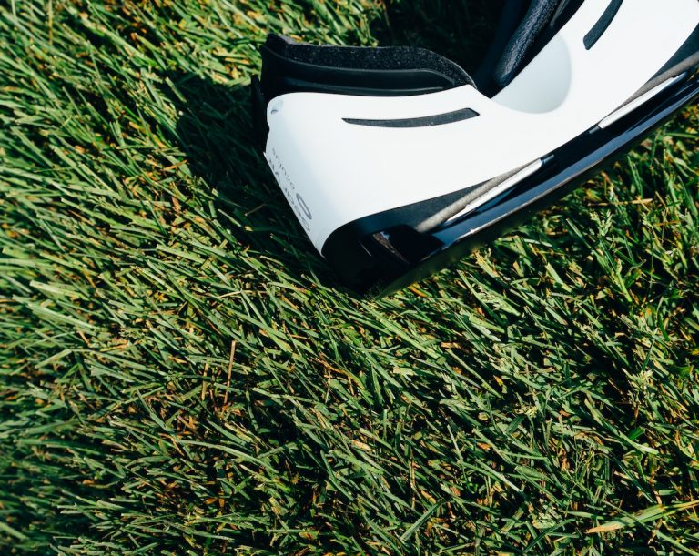 vr headset on grass